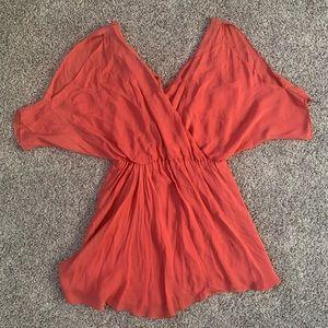 Haute Hippie Silk Coral Dress